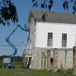 Our fall project: painting the back of the hall where homesteaders danced with Eleanor Roosevelt